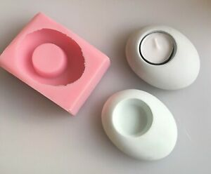 Silicone Mould/mold for concrete pebble tea light holders.  Handmade in UK.