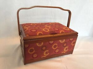 Luxury Sewing Basket Wood Frame Wine/Brown Circles - Craft Storage Gift