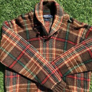 Rare VTG 90s Brown Polo Ralph Lauren WOOL Fisherman Plaid Sweater Shirt XL