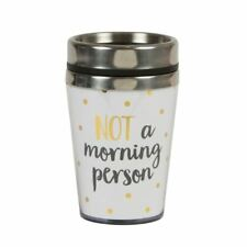 Not A Morning Person Metallic Gold Black White Travel Mug by Sass and Belle