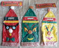3 Vintage Mardis Gras Bottle Covers Japan Felt Fabric -Never Used -Bourbon & Gin