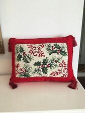 Gorgeous Red Christmas Holly Needlepoint Velveteen-Backed Pillow