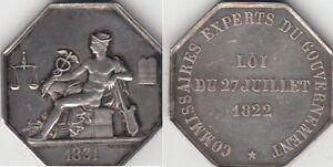 Jeton argent commissaires experts du gouvernement 27 juillet 1831