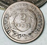 1865 Two Cent Piece 2C Ungraded Good Detail Civil War Date US Copper Coin CC5526