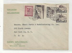 Iceland 1957 Airmail Cover to US, Nice Mix