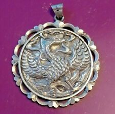 More details for vintage chinese large heavy solid export silver ideogram rising phoenix pendant