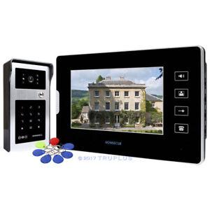 HOMSECUR 7'' Video Door Intercom with Touch Button Panel & Password/ RFID Unlock