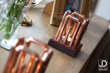 Copper pipe candle holders with solid wooden base - Pair - Industrial home decor