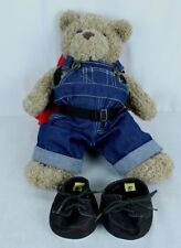 Build A Bear w Overalls Backpack Sleeping Bag Boots Hiking Camping Teddy Bear