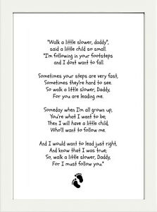 INSPIRATIONAL DAD FATHERS DAY POEM QUOTE  A4 POSTER PRINT  NEW BABY GIFT
