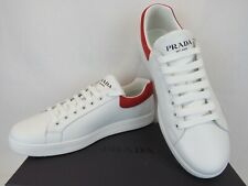 NIB PRADA 4E3484 WHITE LEATHER RED SUEDE LOW TOP LOGO SNEAKERS 10 / US 11