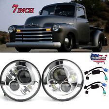 "Pair Chrome 7"" Round LED Hi/Lo Sealed Beam Headlight For Chevy Pickup Truck 3100"