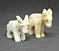 Vintage Donkey Figurines Lot of 2 Cargo Donkey Statue Stone Hand Carved Statue