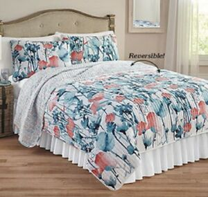 3pc ZURI FLORA QUILT SET King or Queen Floral Flower Blooming Blue Reversible