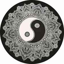 "Yoga Mat 72"" Inches Yin & Yang Big Roundies Fabric Cotton Indian Round Beautiful"