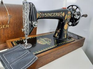 VINTAGE SINGER 66K HANDCRANK SEWING MACHINE, FULLY SERVICED for LEATHER & FABRIC