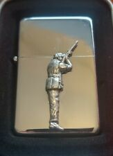 More details for clay pigeon shooting  petrol / oil windproof fliptop chrome/pewter lighter gift