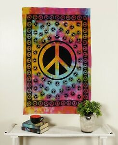 Peace Sign Tapestry Boho Tie Dye Cotton Wall Hanging Hippie Large Yoga Throw