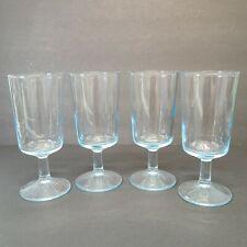 """Lot of 4 Vintage Clear Light Blue Stemmed 8 oz Glasses Approximately 6 7.8"""" H"""