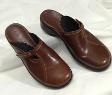 Clarks 8 M B Brown Adjustable Strap Slip On Mules Clogs Shoes Leather Uppers