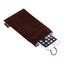 Weiche Flanell Handy Tasche mit Perlen-Knopf für Smartphones bis 5.5 Zoll braun