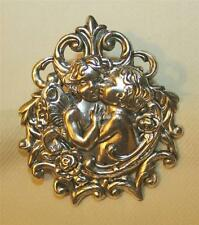 New listing Delightful Open Slope Rim Kissing Angels Cherubs Silvertone Religious Brooch Pin