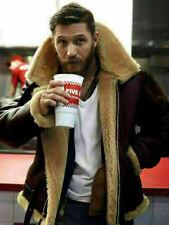 Dunkrik Tom Hardy Brown Fur Collar Bomber Real Sheepskin Leather Jacket For Mens