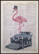 Pink Flamingo Vintage Typewriter Dictionary Print Page Wall Art Picture Hipster