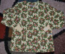Christmas Warm up Jacket 2 bottom Pockets Jingle Bells Cream Print Size Small