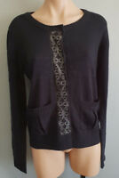 BNWT Ladies Sz 10-12 Undercoverwear Brea Black Long Sleeve Knit Cardigan