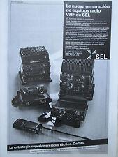 1980'S PUB SEL STANDARD ELEKTRIK LORENZ RADIO TACTIQUE VHF ORIGINAL SPANISH AD