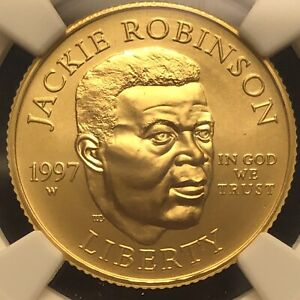 1997 W Jackie Robinson Gold $5 .2419 oz. NGC MS69. Flawless Coin And Slab