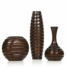 Hosley's Set Of 3 Wood Vases. Ideal For Home Office, Decor, Floor Vases, Spa,