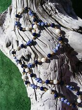"""Classy Blue & White Porcelain Bead Necklace with Gold Plated Accents 29"""""""