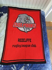 Redcliffe Dolphins Rugby League Club Nitted Wool Blanket 125cm x 84cm