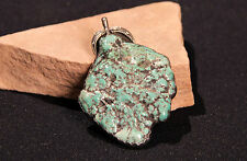 "Navajo Large Seafoam Nugget Turquoise Pendant with Silver Leaves 2 1/4"" x 3 1/4"""