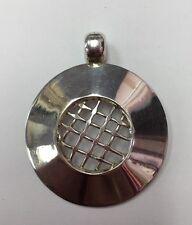 """REAL 925 SILVER Big Round Checker Design Pendant 1-1/2"""" & 13.4gr"""