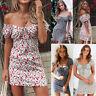 Floral Slim Fit Sundress Boho Women Frill Off Shoulder Mini Dress Short Sleeve