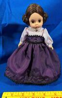 """Madame Alexander Doll Little Women Meg Made in USA 8"""" Bun Hair Jewel Dress VTG"""