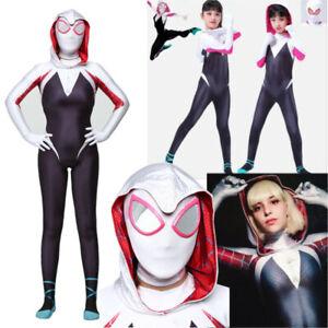 Halloween Kids Girl Spider Costume Spiderman Cosplay Jumpsuit Hoodie Gwen Stacy