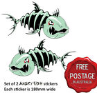 2 AWESOME ANGRY SKELETON FISH BOAT CAR STICKER VINYL DECALS 18 CM