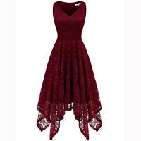 Women's Vintage Lace V-Neck Dress Asymmetrical Hem Cocktail Formal Swing Dress