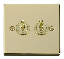 Deco 2G 2 Way 10AX Toggle Switch Victorian Polished Brass
