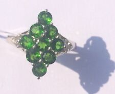 2.07ct Chrome Diopside & White Topaz Sterling Silver Ring Size L/M BNWT. Ltd Edn
