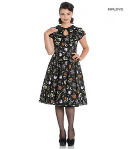 Hell Bunny 50s Black Pin Up Dress Horror Witchy SALEM Halloween All Sizes