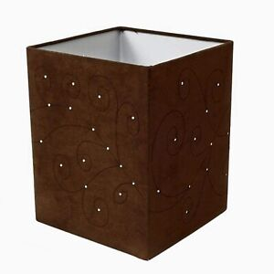 Swirls Square Faux Suede Light Shade - Chocolate