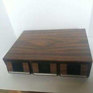 Vintage Cassette Tape 42 Capacity Wood Grain Storage 3 Drawer Holder Case