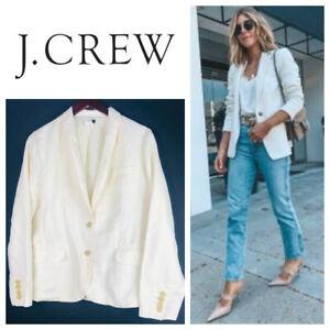 J. Crew 12 Large Blazer Jacket Linen Blend Ivory Cream Career 2 Button