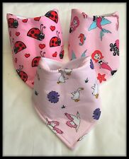 Girls Baby Bandana Dribble Bib Bibs Ladybird Mermaids Swans Ducks Fabric Food