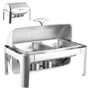 Banquet Chafing Dish With Rolling Top Double Compartment 44cm 63cm 2 x 4L dishes